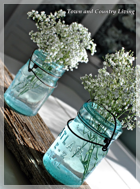 Baby's Breath in Blue Mason Jars