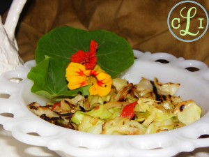 Sauteed Cabbage and roasted red peppers