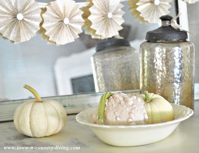 Collection of white gourds and Baby Boos for fall decorating via Town and Country Living