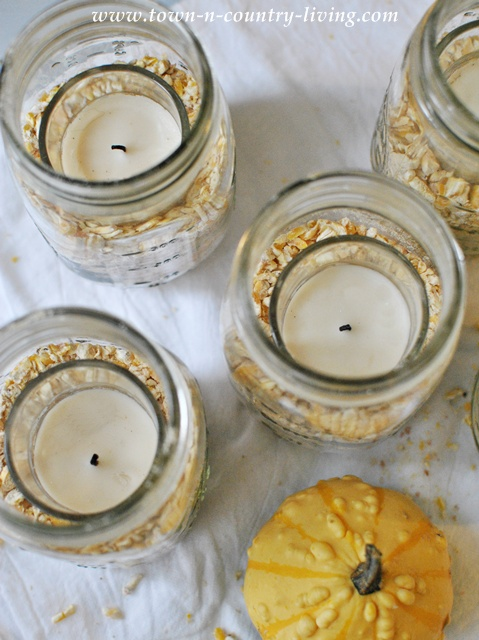 Cracked corn used in DIY mason jar candle via www.town-n-country-living.com