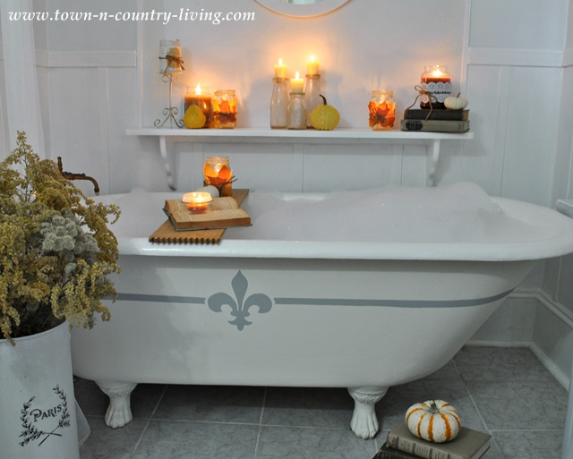 Fall Decorating with Candles in the Bathroom via www.town-n-country-living.com