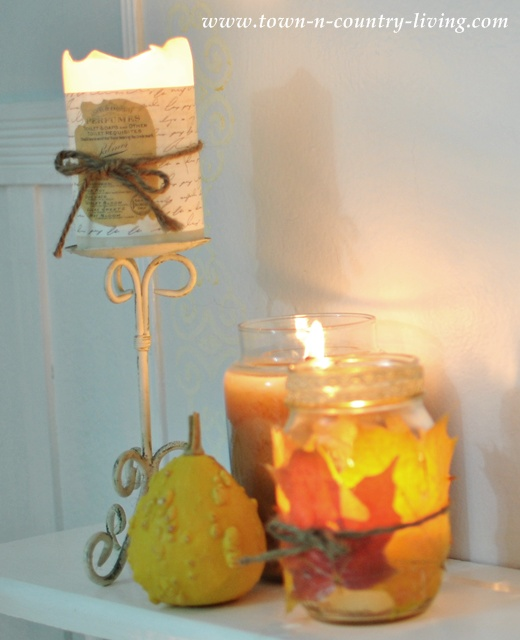 Fall Decorating with Candles via www-town-n-country-living.com