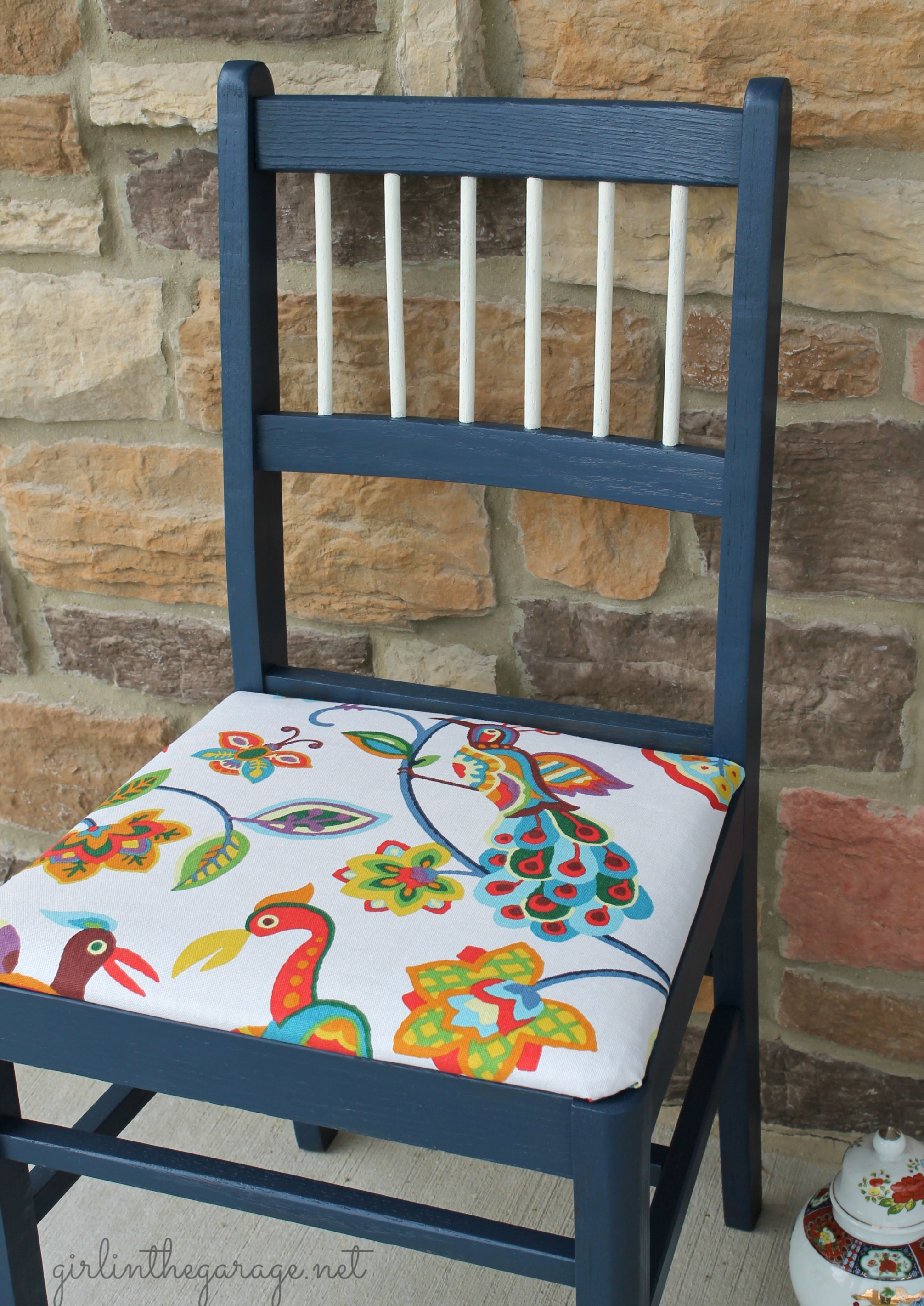 Colorful Bird Chair Makeover