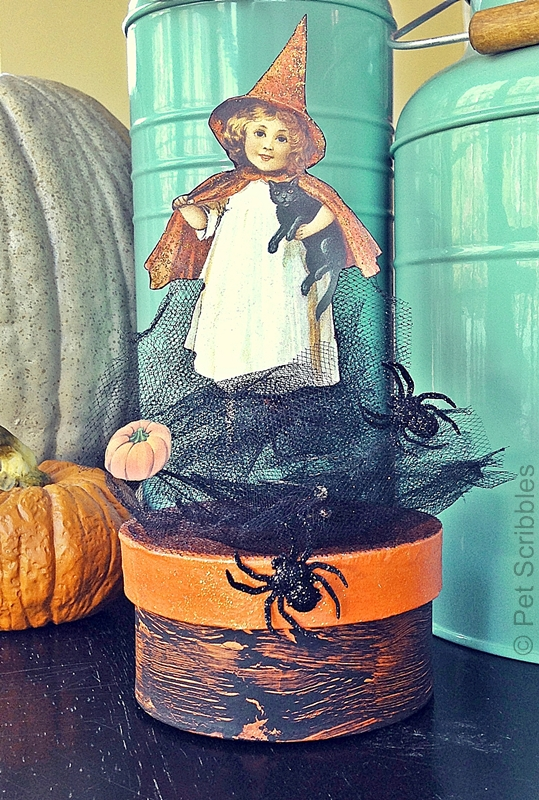 Vintage Witch Girl Halloween Box