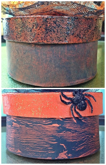 glittered paper maché boxes