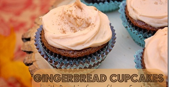 Gingerbread Cupcakes with Pumpkin Cream Cheese Frosting