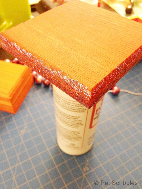 glitter glue on box lid