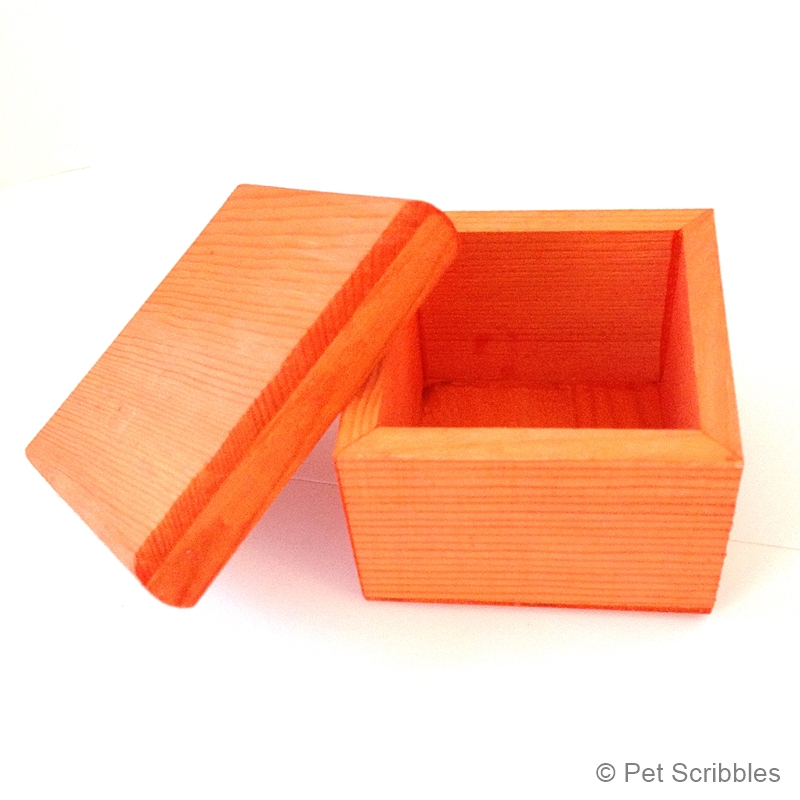square wood box dyed orange