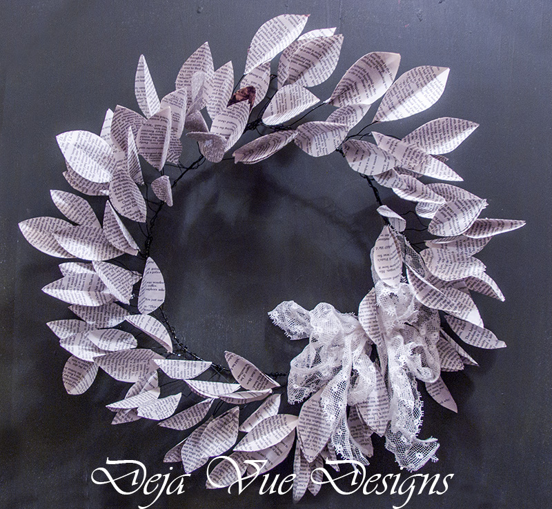 How to make a book page leaf wreath
