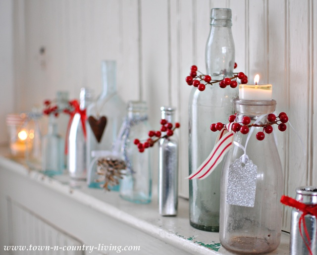How to decorate bottles for Christmas