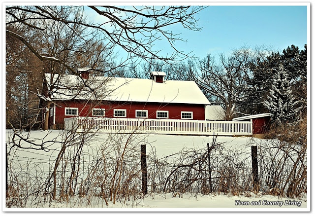Red Country Barn in Winter