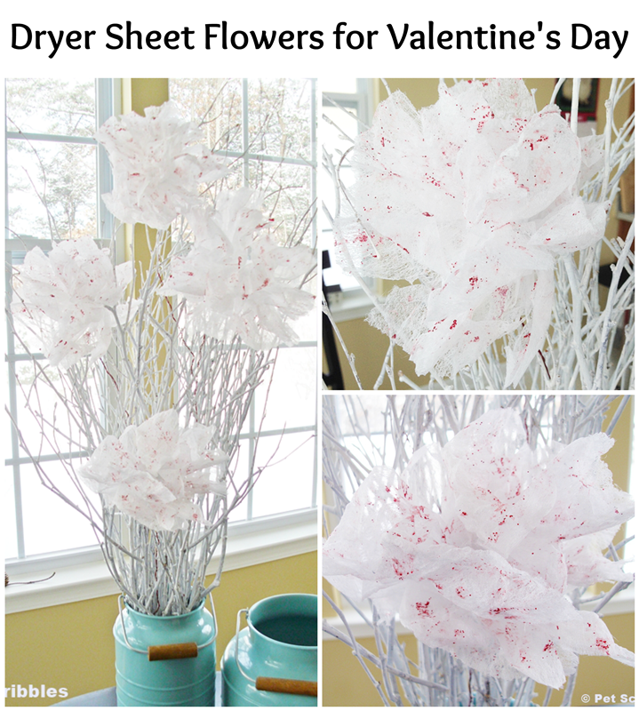 Dryer Sheet Flowers DIY for Valentine's Day