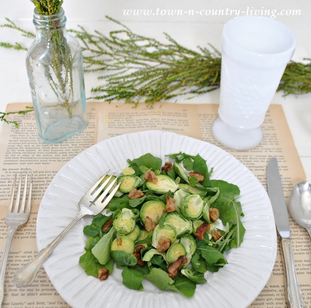 Brussel Sprout, Spinach, and Arugula Salad