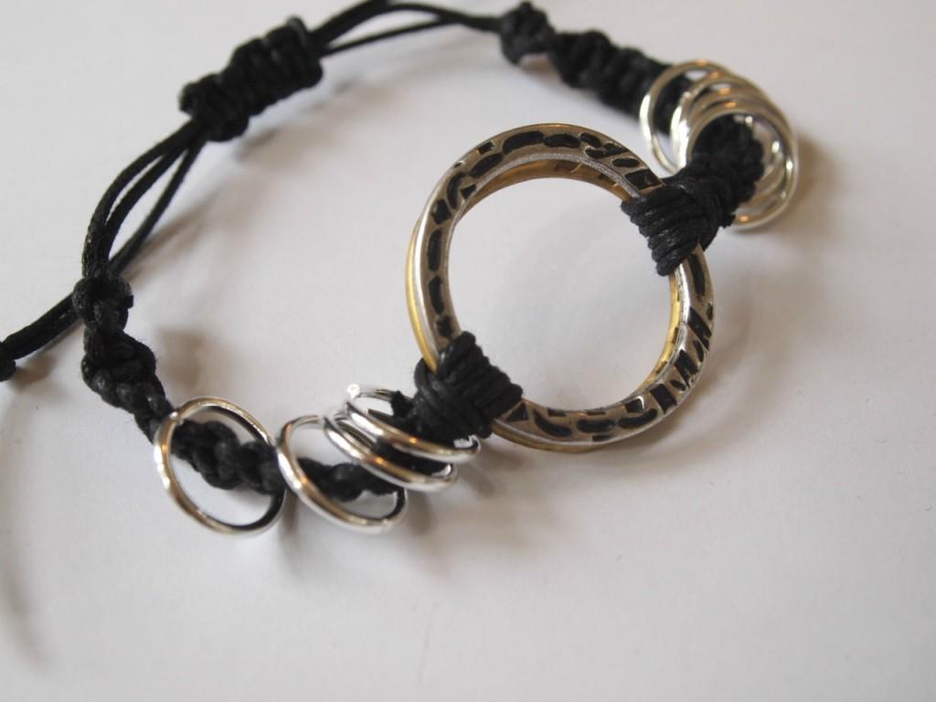 DIY Stacked ring woven bracelet