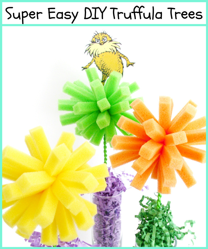 Super Easy DIY Truffula Trees using dollar store dishwashing sponges!