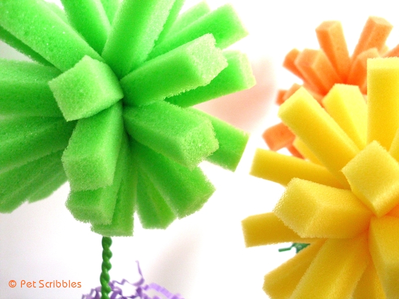 easy truffula trees from dish sponges