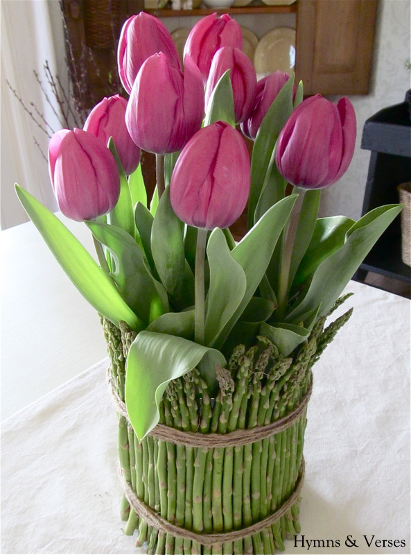 Tulips And Asparagus Spring Centerpiece Live Creatively