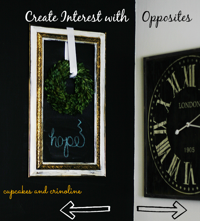 Milk Paint and Gold Frame Creating Interest with opposites #decorating #diy #milkpaint #gold #chalkboardpaint #chalkboardwall cupcakes-and-crinoline