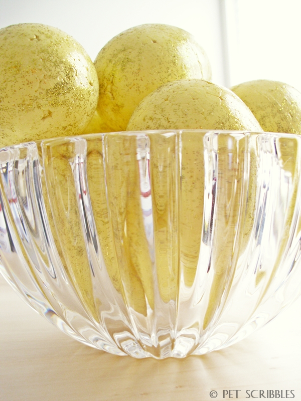 Speckled Glitter Easter Eggs displayed in a Tiffany crystal bowl. A pretty Springtime display!