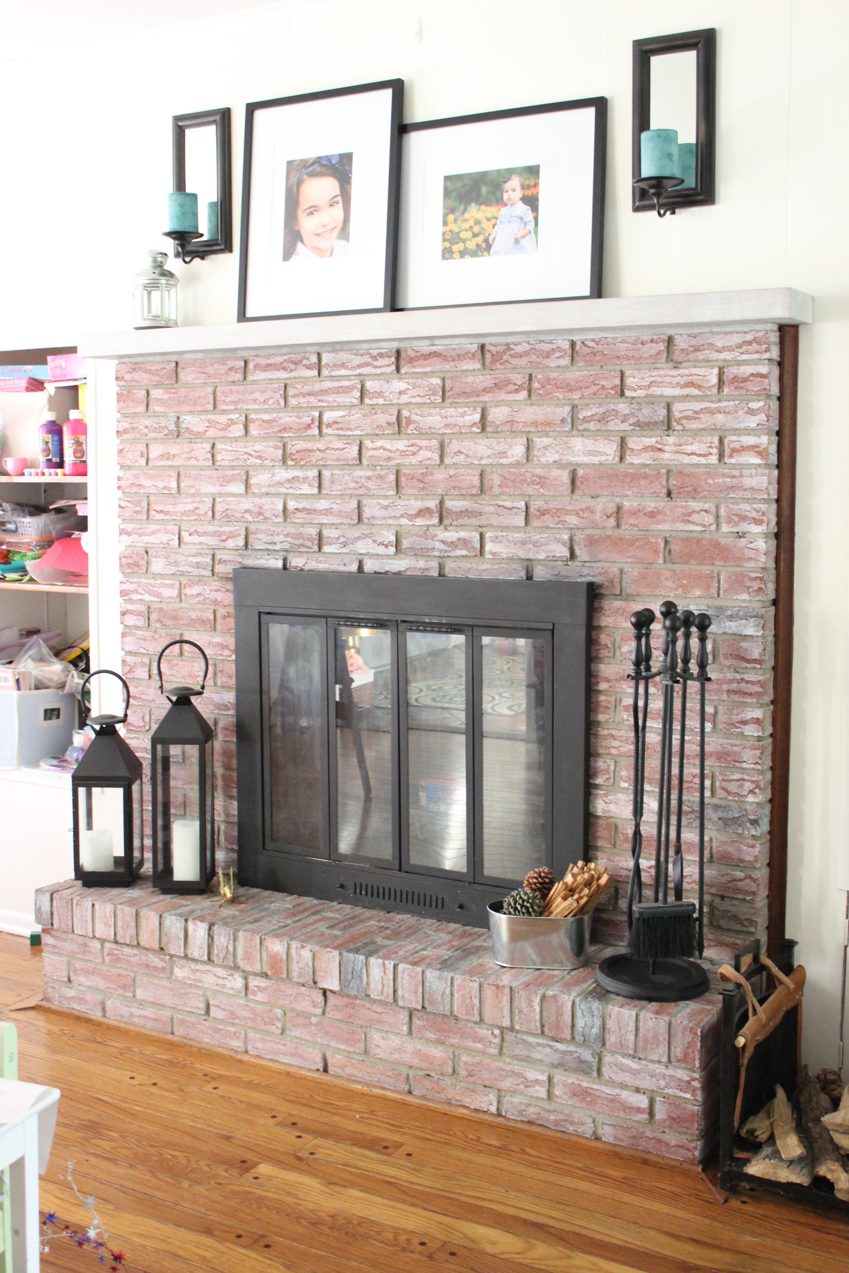 whitewashed brick fireplace live creatively inspired