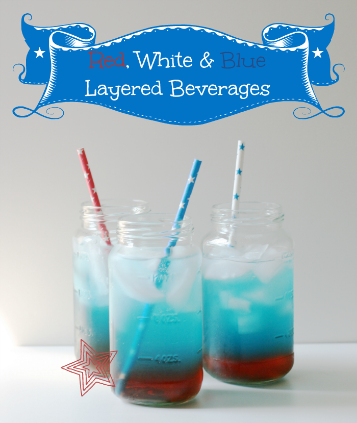 Red, White and Blue Layered Beverages