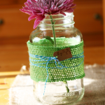 Burlap Wrapped Mason Jar Vase