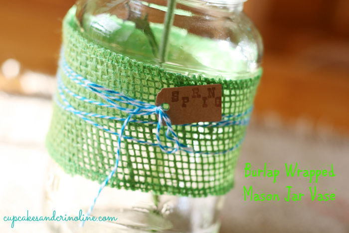 Burlap Wrapped Mason Jar One
