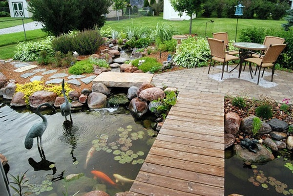 Boardwalk over a Backyard Pond