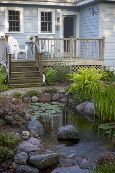Deck by a Backyard Pond