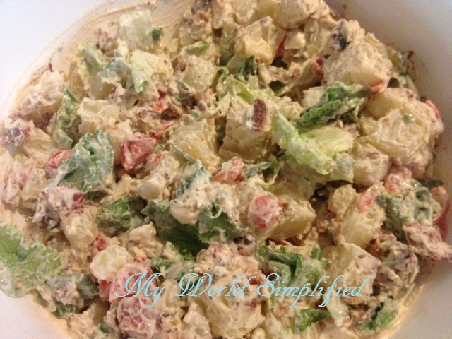 BLT Potato Salad by My World Simplified