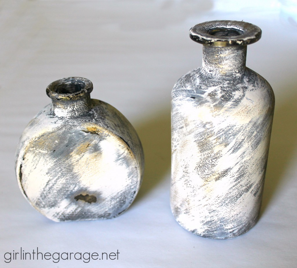 How to make embellished glass bottles with vintage flair!  girlinthegarage.net