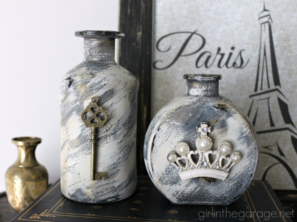 How to make embellished glass bottles with vintage flair!  By Girl in the Garage for Live Creatively Inspired.