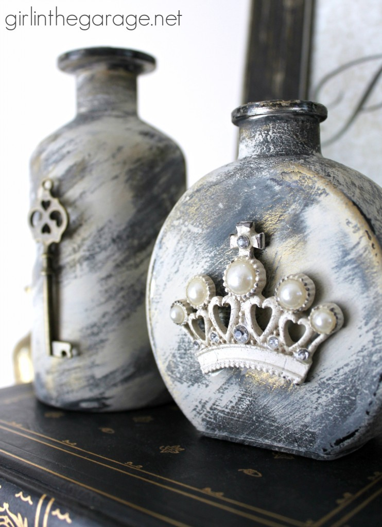 How to make embellished glass bottles with vintage flair!  Girl in the Garage for Live Creatively Inspired.