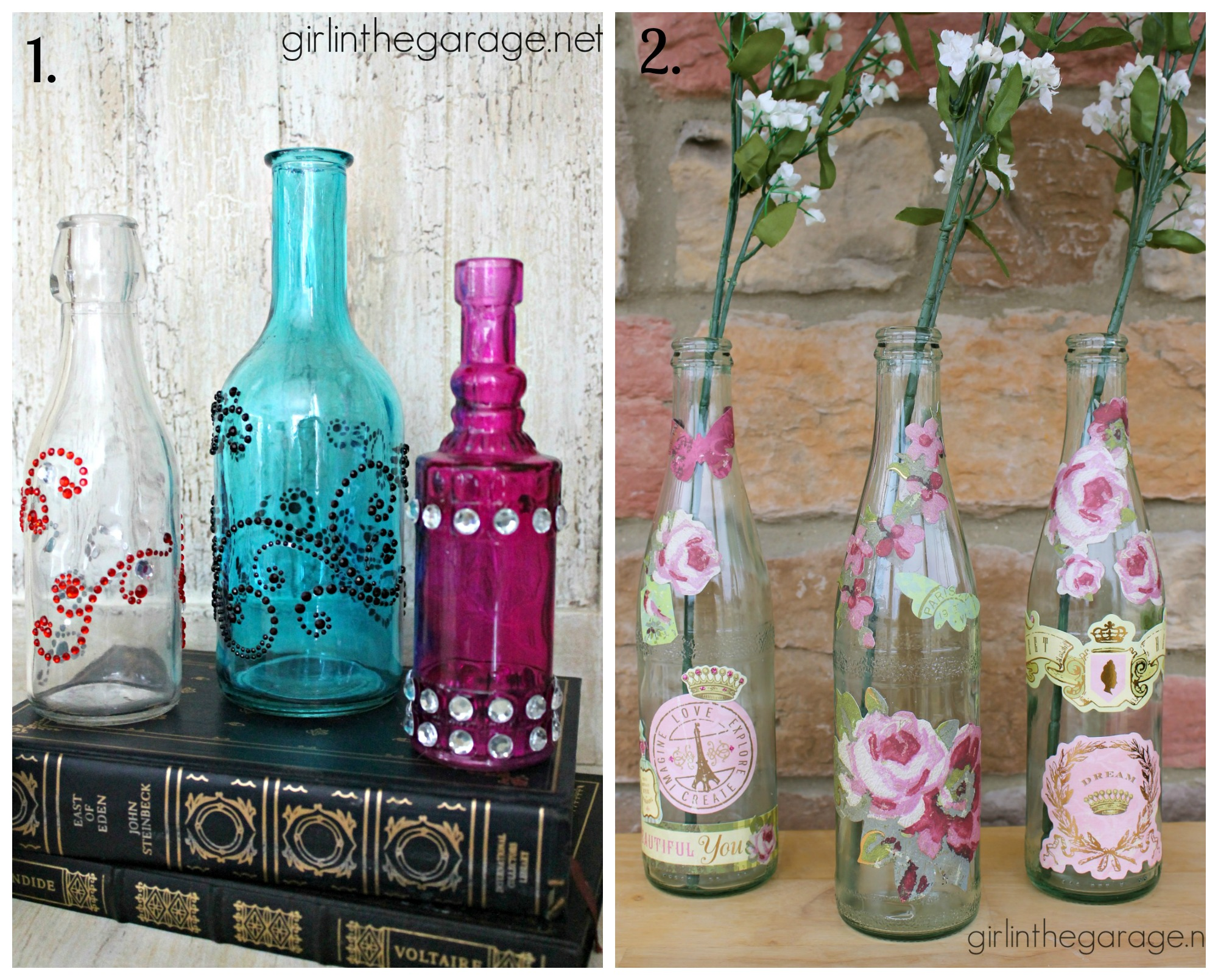 decorated glass bottles. Decorated Glass Bottles by Girl in the Garage Embellished
