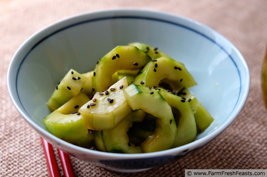 Soy Sesame Marinated Cucumbers by Farm Fresh Feasts