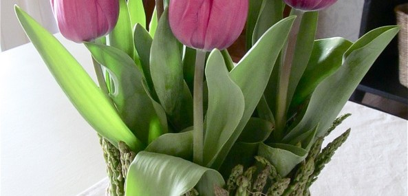 Tulips and Asparagus Spring Centerpiece