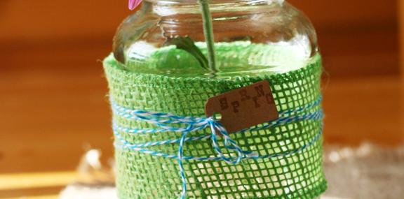 Burlap Wrapped Mason Jar Vase